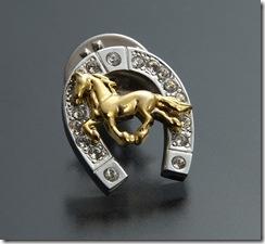 馬と蹄鉄ピンブローチ